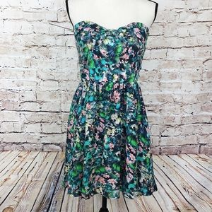 Zara Woman Floral Strapless Dress
